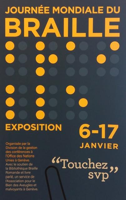 """affiche de la journée mondiale du braille, du 6 au 17 janvier 2020. L'exposition s'intitule; """"Touchez svp"""""""