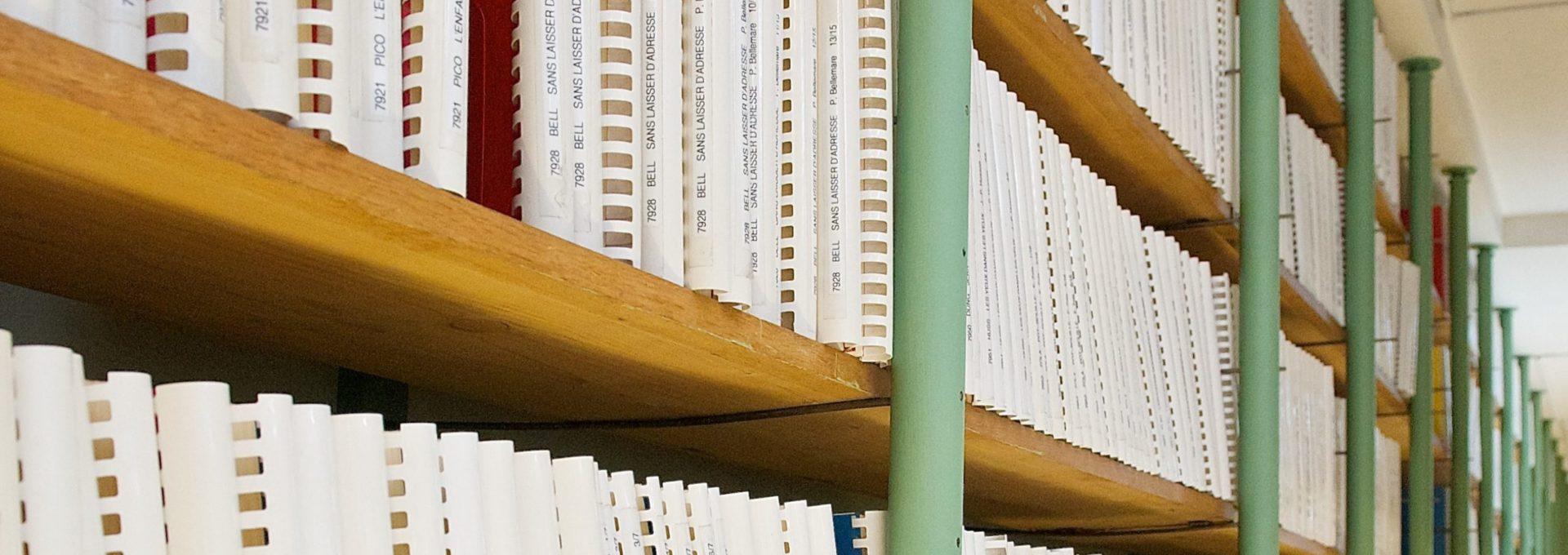 Photo: Rayonnage de bibliothèque contenant des ouvrages braille.
