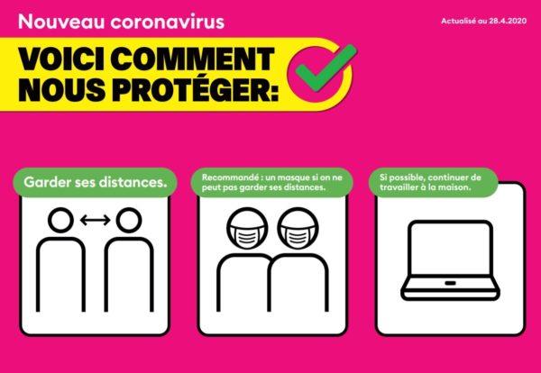 Infographie: Affiche de l'Office fédéral de la santé publique présentant les trois dernières règles à suivre.