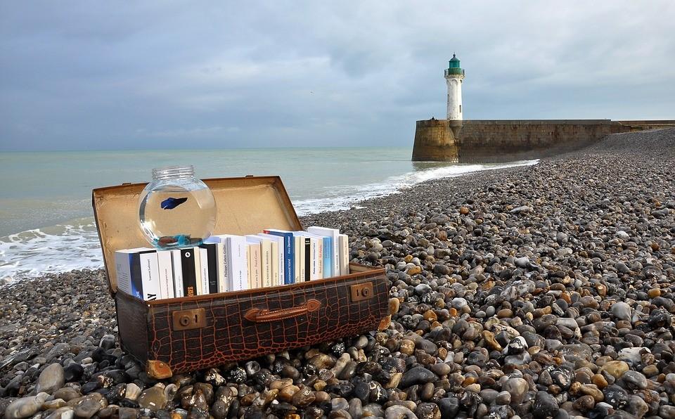 Photo: valise ouverte pleine de livres posées sur une plage de galets.